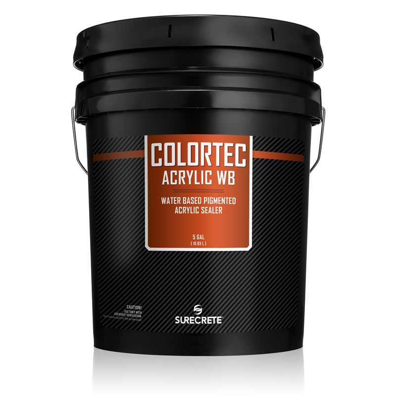 ColorTec Acrylic WB Water Base Colored Concrete Sealer for Outdoor Concrete and pool deck resurfacing. Water base concrete floor paint in over two hundred colors. Colored low odor concrete floor sealer. Pigmented concrete floor paint for colored concrete floors.