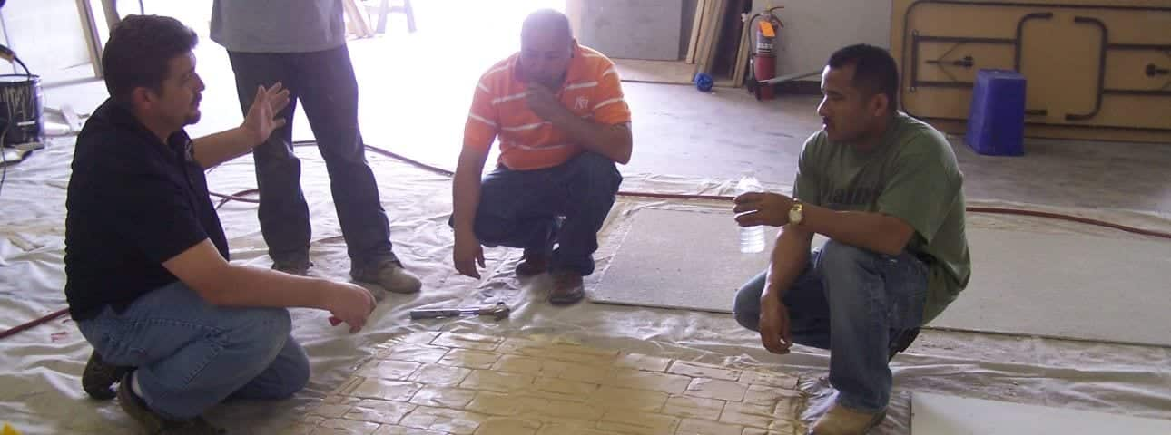 Photos of our decorative concrete training classes and concrete countertop training