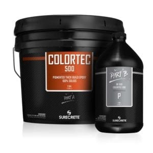 ColorTec 500 Colored 100% Solids Epoxy Concrete Floor Coating System by SureCrete. Thick epoxy concrete floor paint in solid color. Epoxy concrete floor product used for garage epoxy flake material systems.