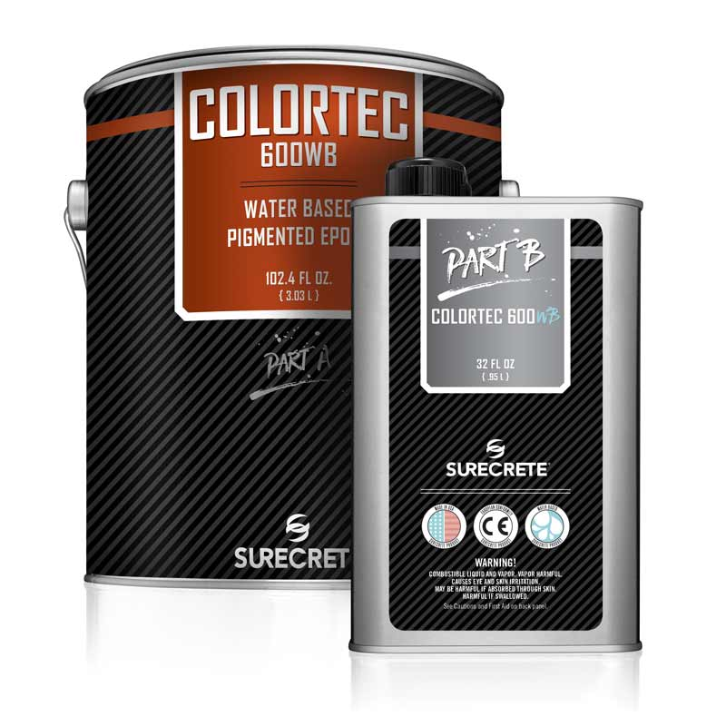 SureCrete Design Products ColorTec 600WB Colored Epoxy Floor Coating System. Solid color epoxy floor paint for concrete floor. garage floor paint epoxy that will resist hot tire pickup.
