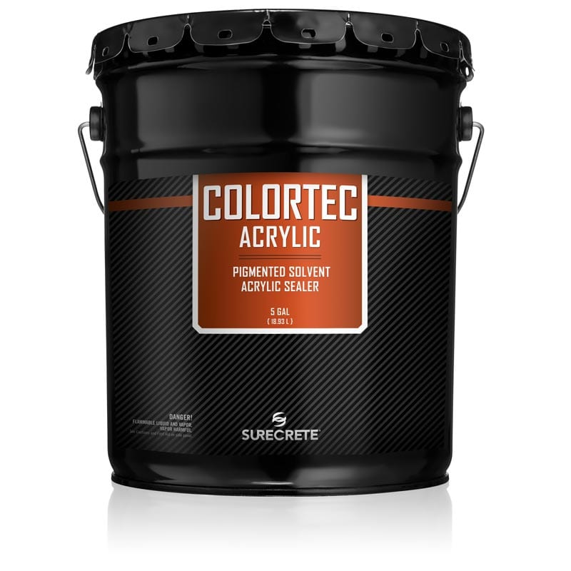 ColorTec Acrylic Colored concrete sealer for outdoor concrete solvent base. Solvent base solid color concrete floor paint. Colored concrete sealer for exterior solvent base paint projects. Colored driveway sealer in solvent base. Concrete sealer for colored pool deck resurfacing.
