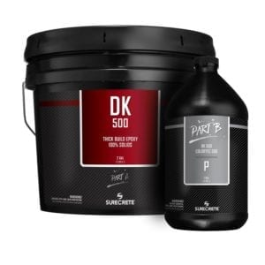 DK500 Clear 100% Solids Epoxy Floor Coating Material System. Epoxy material used for metallic epoxy products. Thick epoxy product for concrete floors.