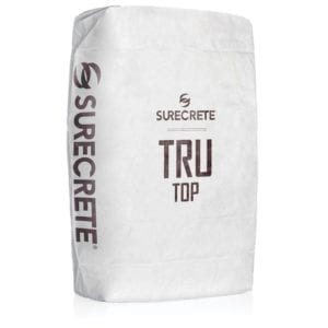 TruTop Microtopping thin finish concrete overlay product. Thin polymer modified cement concrete overlay material bag mix for decorative concrete texture projects. Wood look concrete looks best with trutop microtopping just add water concrete bag mix.