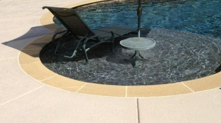 Thin Concrete Overlay Bag Mix Systems for knock down texture on pool deck resurfacing. Slip resistant concrete texture overlay systems for safe concrete coatings which are finished with a solid color concrete sealer that looks like concrete paint.