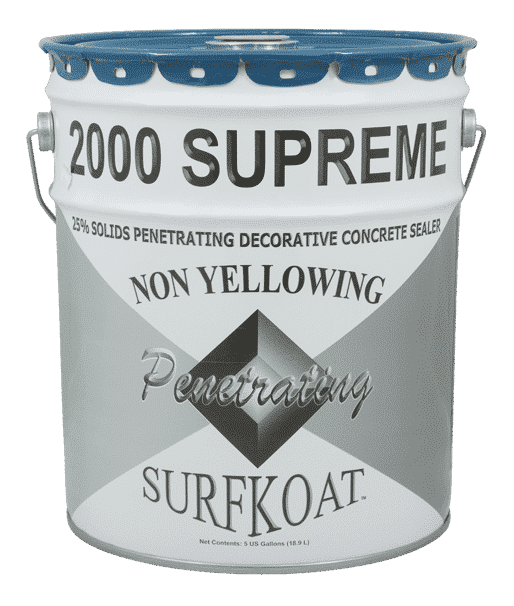 Surfkoat 2000 Supreme Acrylic Concrete Sealer Cure and Seal Clear non yellowing crystal clear concrete cure and seal concrete sealer for stamped concrete charlotte projects and stamped concrete raleigh projects.