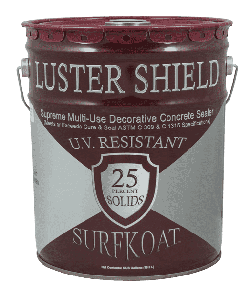 Surfkoat Luster Shield Clear Concrete Sealer Cure and Seal 25%. High shine stamped concrete patio sealer. Stamped concrete sealer with high gloss. Sealer for stamped concrete with high shine.