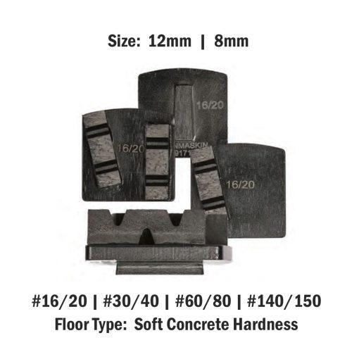 Soft Concrete Hardness 8 mm - 12mm Concrete Diamond Tool Black Double #16/20 | #30/40 | #60/80 | #140/150 by Scanmaskin